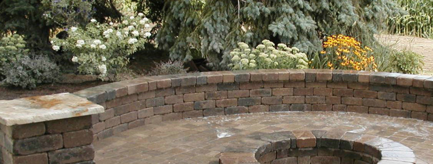 Firepit with Seat Wall Installation