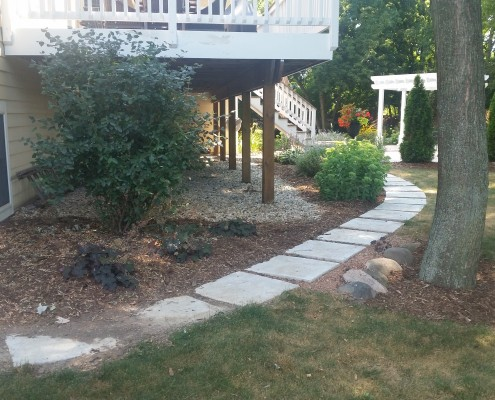 backyard landscaping and walkway installation AFTER