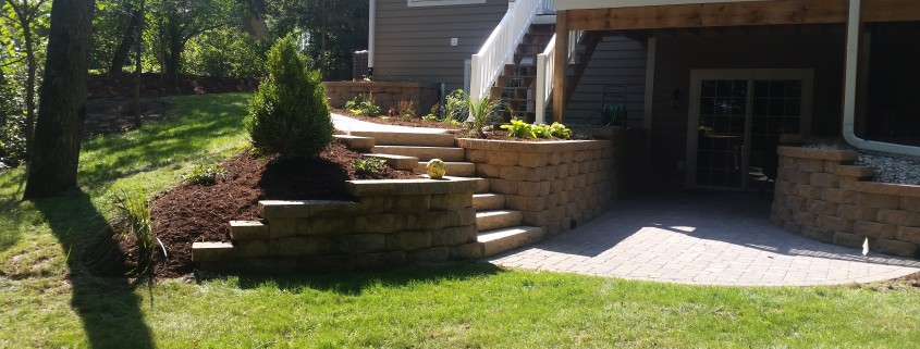 Retaining Wall and Stairs Installation AFTER