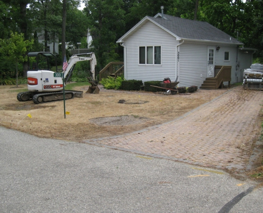 Paver Driveway Before Repair & New Installation