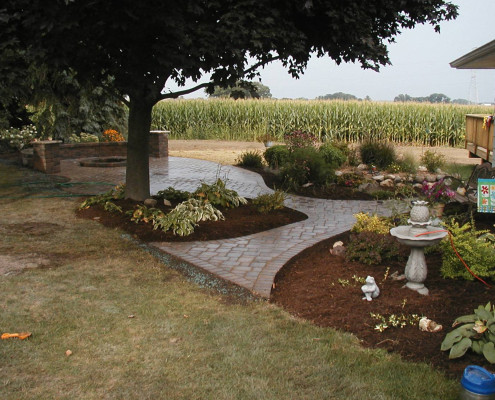 Flower Bed with Pathway Installation
