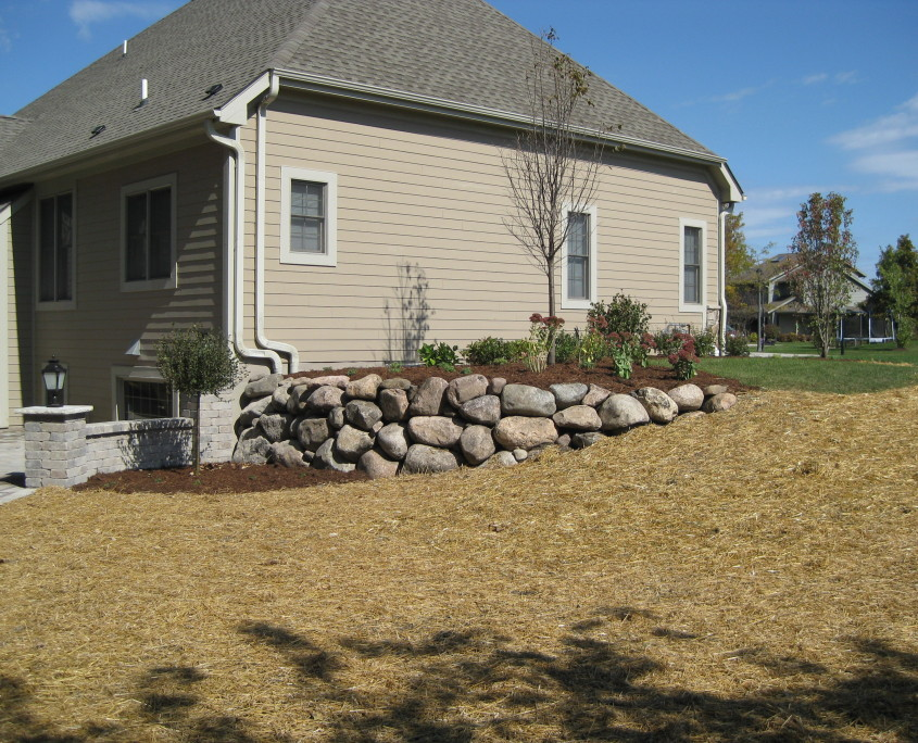 Stone side wall installation after image