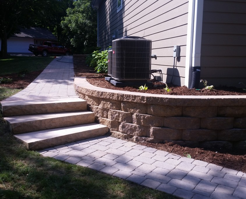 Side Wall/Retaining wall and walkway After