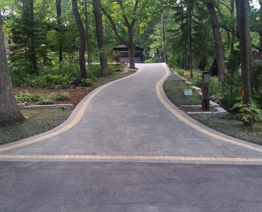 Driveway after professional landscaping
