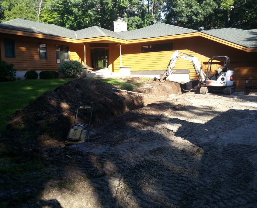 Prepping for Retaining Wall Installation