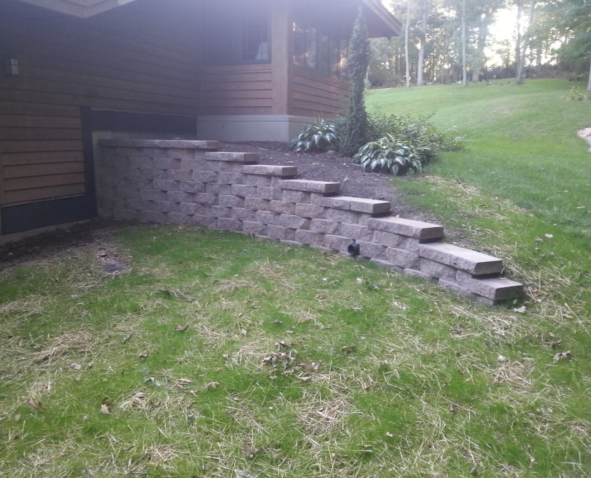 Concrete retaining wall after image