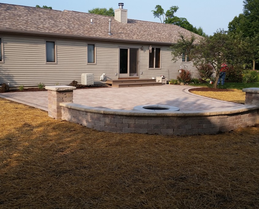 Patio Installation with a Fire Pit & Wall Seat Burlington, WI