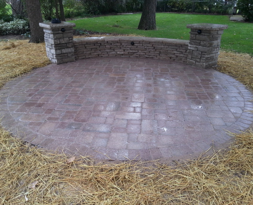 Patio Installation with a Bench Wall