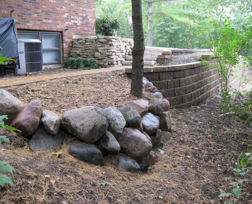 Stone and Concrete Wall Installation After