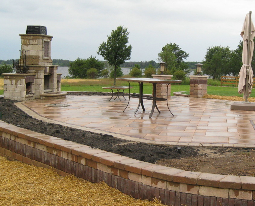 Burlington, WI Patio Installation with Fireplace