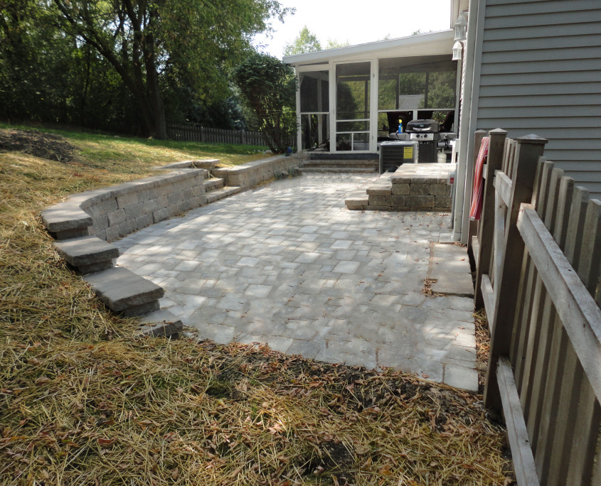 Patio Installed with Steps & a Retaining Wall