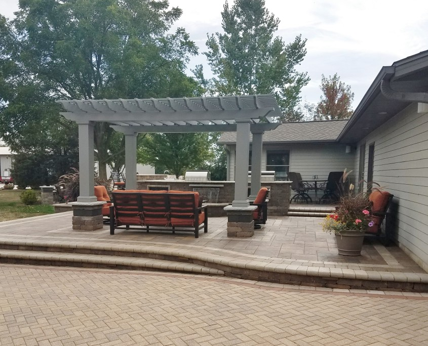Beautiful Patio Installation with a Pergola