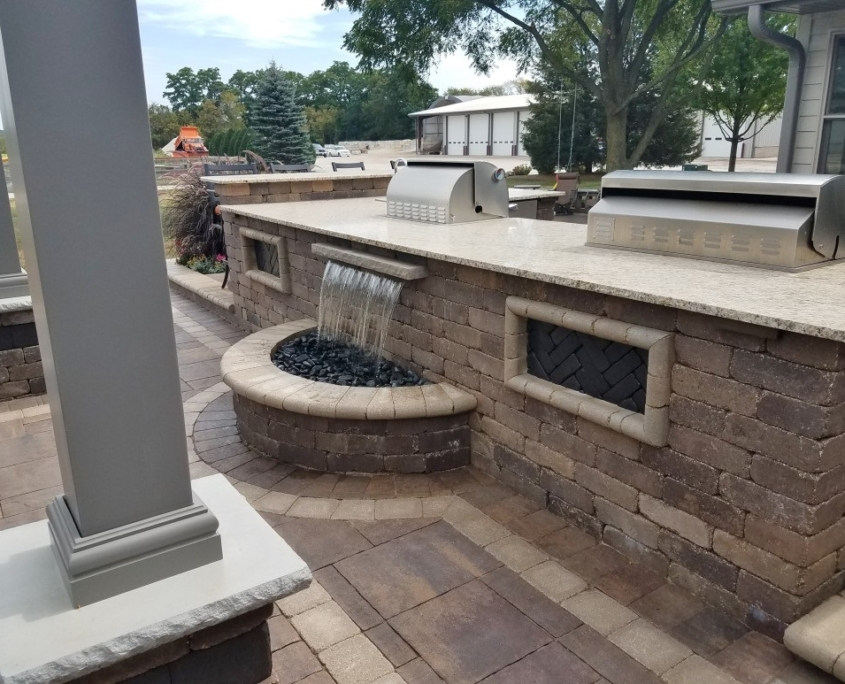 Outdoor Water Feature Installed with Pavers